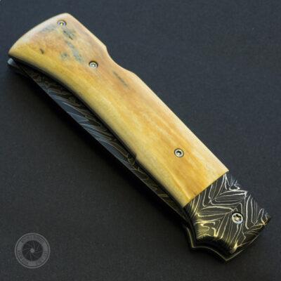 Klappmesser<br /> Damast von J. Rühl<br /> Mammutelfenbein